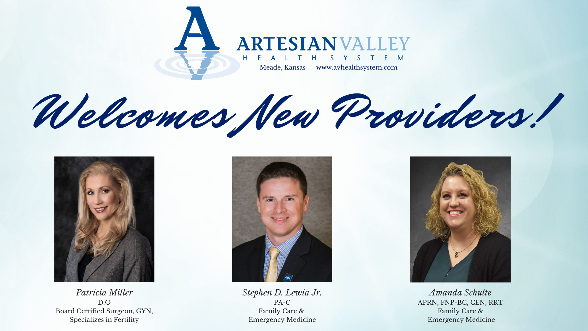 Artesian Valley Health System Welcomes New Providers!